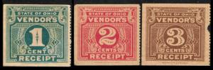 UNITED STATES REVENUE VINTAGE STATE OF OHIO VENDOR'S TAX RECEIPT SET 3 OF STAMPS