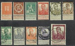 $Belgium Sc#92-102 used, F-VF, complete set, Cv. $66.75