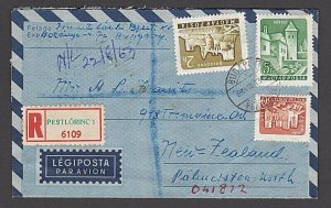 HUNGARY 1963 REGISTERED formular aerogramme commercial to New Zealand.......J780