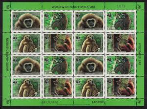 Laos WWF White-handed Gibbon Sheetlet of 4 sets SG#2021-2024 SC#1738a-d