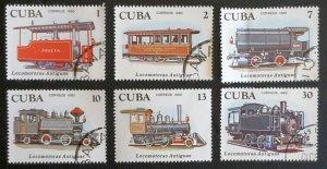 CUBA Sc# 2357-2362  TRAINS Locomotives CPL SET of 6    1980  used / cto
