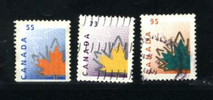 Canada #1684as, 1685, 1686   -2  used VF 1998  PD