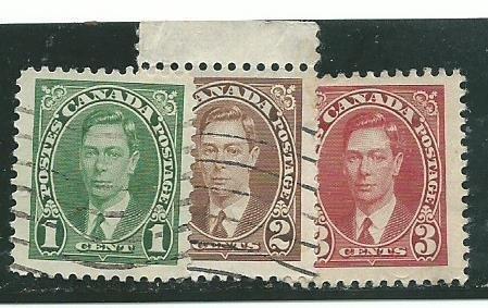 Canada #231-33  used  1937  PD