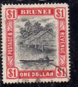 BRUNEI 1924 1937 1931 SCENE ON BRUNEI RIVER $ 1 USED USATO OBLITERE'