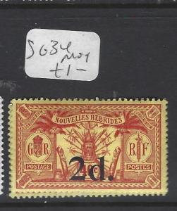 NEW HEBRIDES     (P2611B)  2D  SURCH  SG 34   MOG