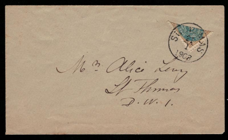 US Danish West Indies, #7 BISECT SCV $140,  Lovely fresh cover with 4c stamp ...