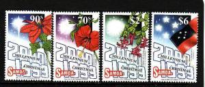 Samoa-Sc#983-6-Unused NH set-Flags-Christmas & Millennium-1999-