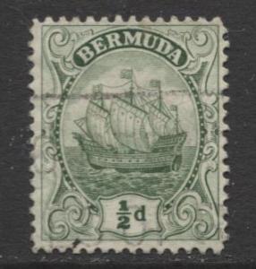 Bermuda - Scott 41 - Caravel - 1910 - FU- Single 1/2d Stamp