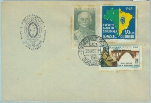 85987  - BRAZIL - POSTAL HISTORY -   FDC COVER 1969   BRIDGE trains ARMY