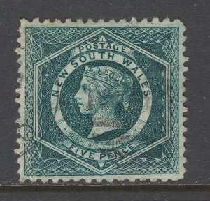 New South Wales SG 233da, used. 1885 5p blue green Diadem, perf 11x12 sideways