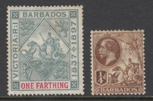 Barbados Sc 81, 116 MLH. 1897 1f Jubilee with gum crease & 1912 ¼p KGV sound