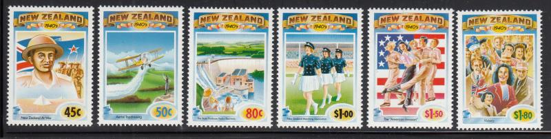 New Zealand 1993 MNH #1186-#1191 The 1940s WWII poster, crop-dusting, Victory...