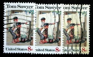 ERROR / EFO Stamps Sc# 1470 Used Color Shift 2 Tom Sawyer EFO Stamps With Normal