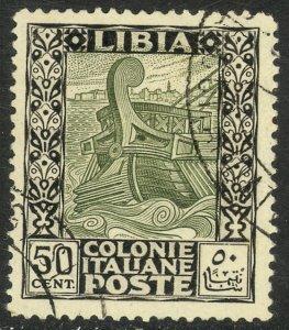LIBYA 1924-40 50c Ancient Galley Pictorial Sc 55 VFU