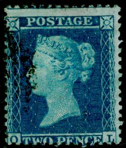 SG34, 2d blue PLATE 5, LC14, FINE USED. Cat £70. OL