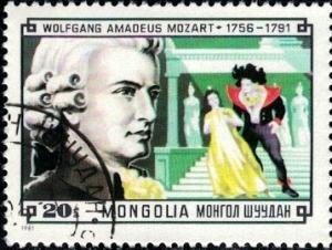 Composer, Wolfgang Amadeus Mozart & Scene, Mongolia stamp SC#1217 used