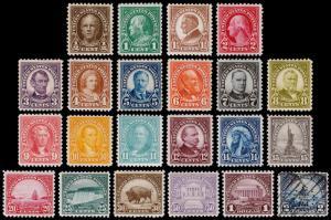 United States Scott 551-572 (1922-25) Mint H/Mint NH/Used F-VF, CV $416.60 B