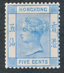 HONG KONG 11, MINT HINGED 5c ULTRA, VICTORIA WMK CC