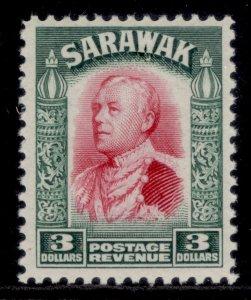 SARAWAK GV SG122, $3 carmine & green, LH MINT. Cat £50.