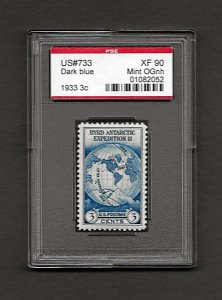 US#733 1933 3c Byrd Antarctic Expedition * PSE XF 90 Mint OGnh - 01082052