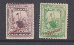 PERU, Postage Due, 1899 5s. & 10s. pair overprinted SPECIMEN in Red, mnh.