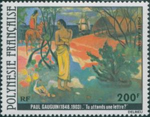 French Polynesia 1979 Sc#C169,SG301 200f Waiting For A Letter painting MLH