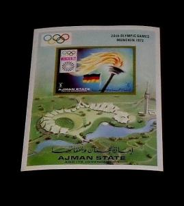 AJMAN STATE, 1972, MUNICH OLYMPICS, IMPERF., SOUVENIR SHEET, MNH, NICE! LQQK!