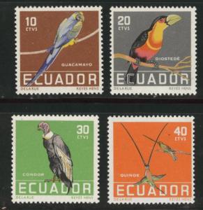 ECUADOR Scott 634-637 MNH** 1958 bird set CV$12