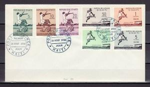 Haiti, Scott cat. 421-423, C115-C118. Sports Broad Jump Record. First day Cover.