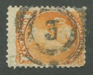 CANADA #35a USED SMALL QUEEN 2-RING NUMERAL CANCEL 3
