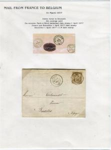FRANCE Early LETTER/COVER 1877 fine used item Avize - Brussels Belgium