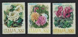 Italy Camelia Cyclamen Carnations Flowers 2nd series 3v SG#1753-1755