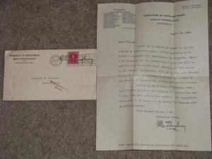 Allen T. Treadway-Letter  for Renomination in 1930, Letter & Envelope Signed
