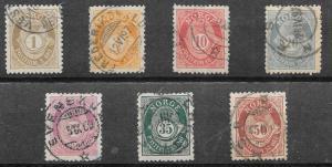 Norway #47a,49a,51a-57a Post Horn & Crown (U)   CV $176.00
