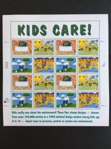 1995 sheet Kids Care! Sc # 2951-2954