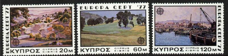 Cyprus 475-7 MNH EUROPA, Art, Painitngs, Ships, Trees