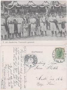 Austria 5 Heller tied on 1907 Photo Post Card - Gymnasts & Crowd - VF
