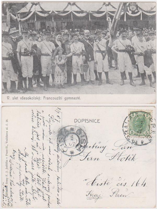 Austria Sc. #90 1907 Photo Post Card showing Gymnaste and Crowd VF