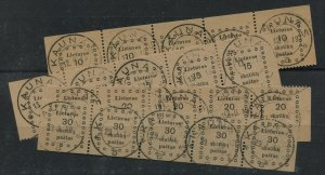 LITHUANIA  9-12   USED  STRIPS OF 5