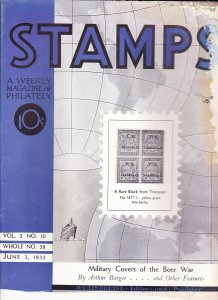 Stamps Weekly Magazine of Philately June 3, 1933 Stamp Collecting Magazine