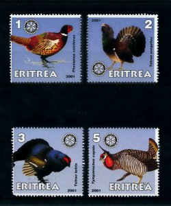 [102186] Eritrea local issue 2001 Birds vögel oiseaux pheasant Rotary MNH