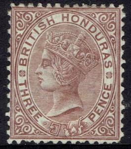 BRITISH HONDURAS 1872 QV 3D WMK CROWN CC PERF 12.5