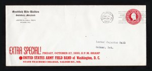 SCOTTISH RITE (MASONIC) ADVERTISING SC #U429 POSTAL STATIONARY SALISBURY MD 1950