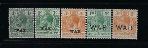 BRITISH HONDURAS SCOTT #MR1-MR5 1916-18 COMPLETE WAR TAX MINT LIGHT HINGED