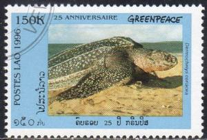 Laos 1304A - Cto - 150k Leatherback Sea Turtle / Greenpeace (1996) (cv $0.80)
