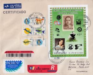 Argentina CFA 1996 Rotary/Lions/Panda/ApolloXI/WWF S/S Registered Letter