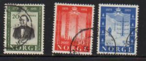 Norway Sc 334-6 1954 Telegraph Anniversary stamp set used