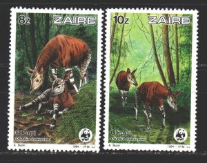 Kinshasa. 1984. 877-78 from the series. Okapi fauna. MNH.