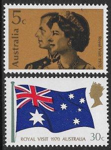 AUSTRALIA 1970 QE2 ROYAL VISIT Set Sc 474-475 MNH