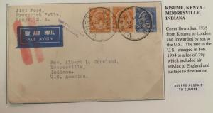 1935 Kisumu Kenya Early Airmail Cover To Mooresville IN USA Via London